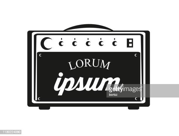 guitar amp with text. - amplifier stock illustrations