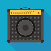 guitar amplifier icon with long shadow. flat style vector illustration