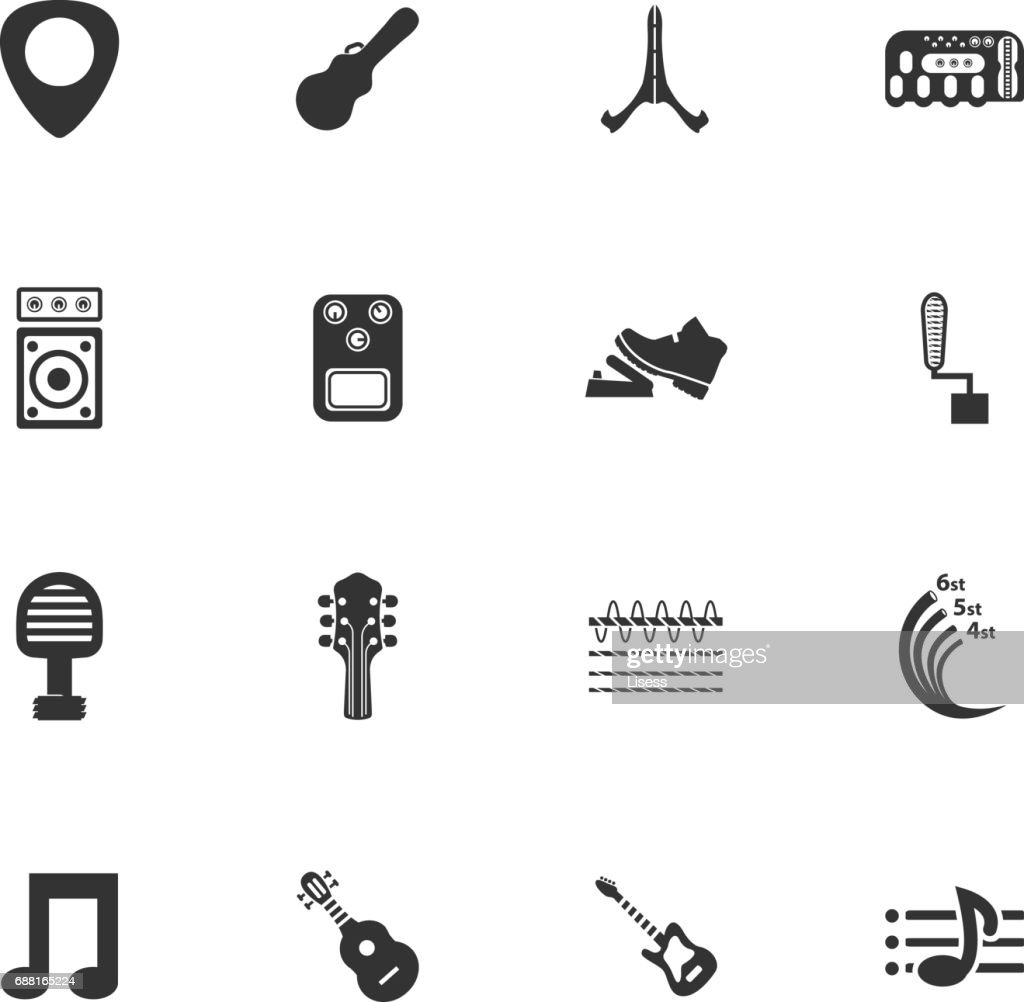Guitar and accessories icons set