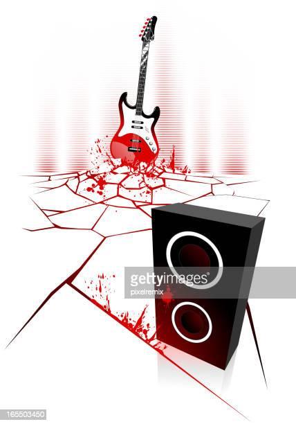 ギターとスピーカー - 血しぶき点のイラスト素材/クリップアート素材/マンガ素材/アイコン素材