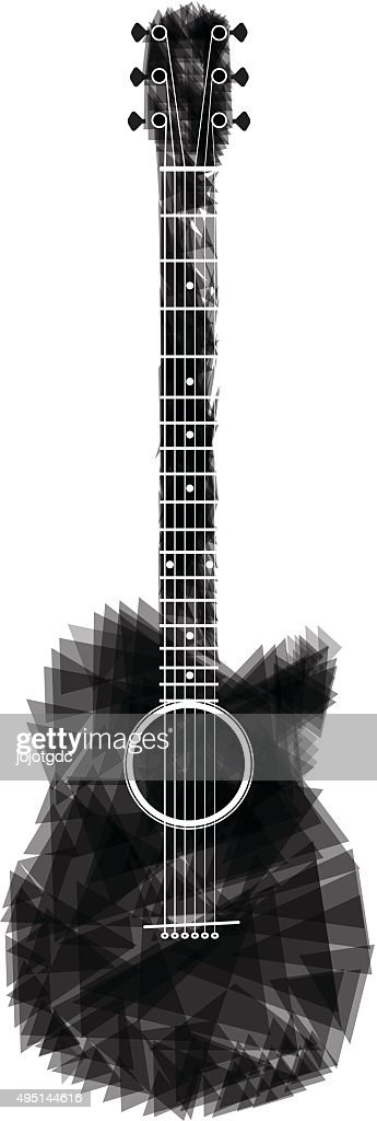 guitar black abstract isolated  vector Illustration