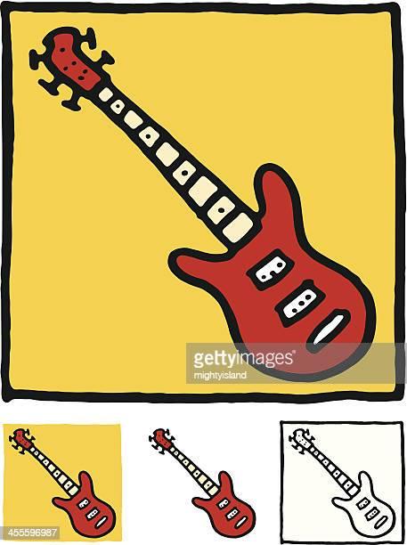 ilustraciones, imágenes clip art, dibujos animados e iconos de stock de bloque icono de guitarra - bajo eléctrico