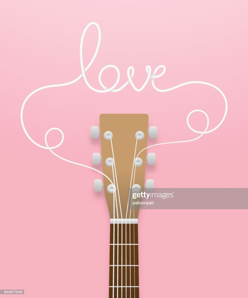 Guitar brown color and love text made from guitar strings illustration concept idea  isolated on pink gradient background, with copy space vector eps10