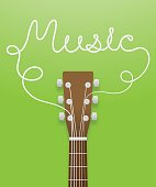 Guitar brown color and music text made from guitar strings illustration concept idea  isolated on green gradient background, with copy space vector eps10