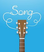 Guitar brown color and song text made from guitar strings illustration concept idea  isolated on blue gradient background, with copy space vector eps10