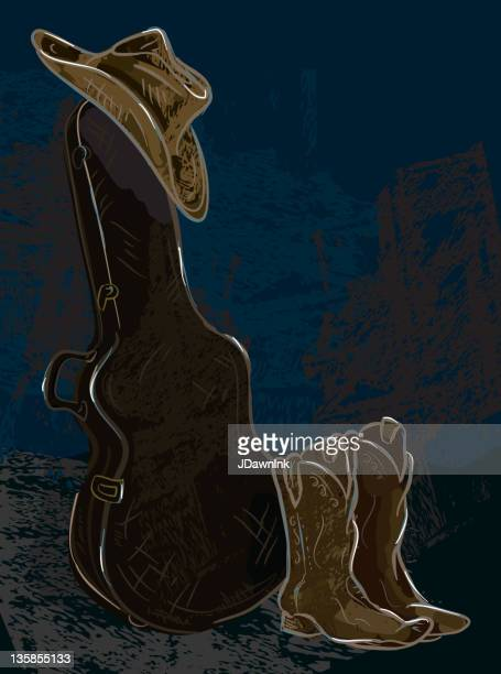 guitar case with cowboy hat and boots - country and western stock illustrations