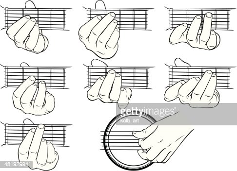 Guitar guitar chords hand images : Guitar Chords Ag And A Strumming Hand Vector Art | Getty Images