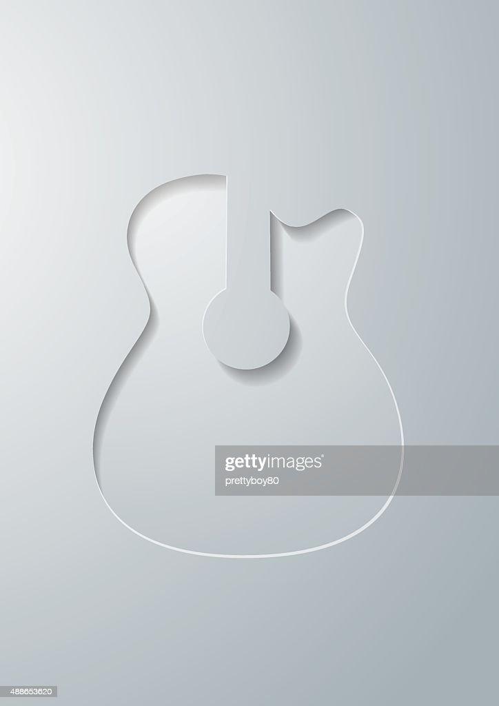 Guitar Cut in White Paper