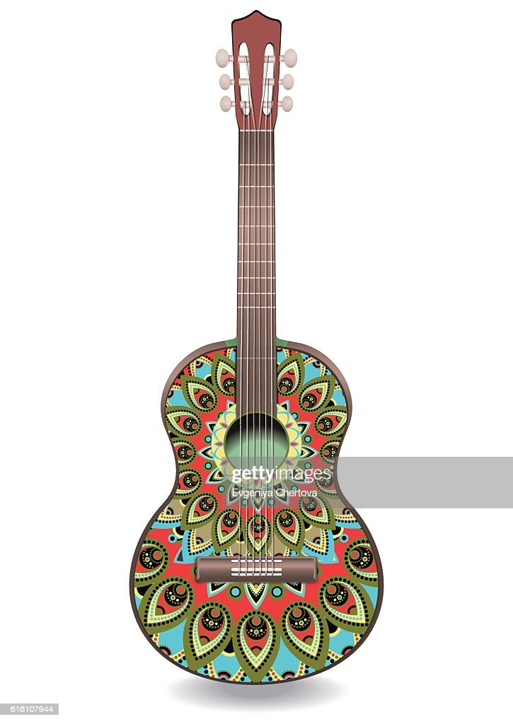 Guitar decorated with ethnic ornaments