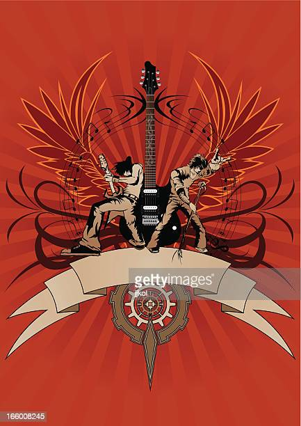 guitar design - lead singer stock illustrations