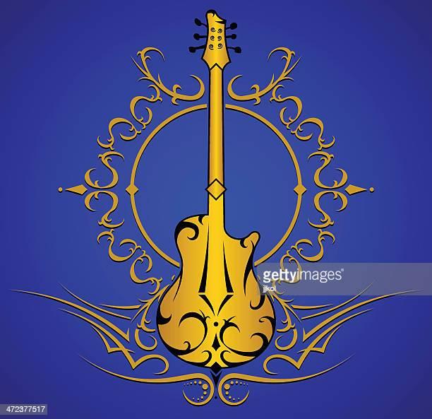 guitar design - bass instrument stock illustrations, clip art, cartoons, & icons