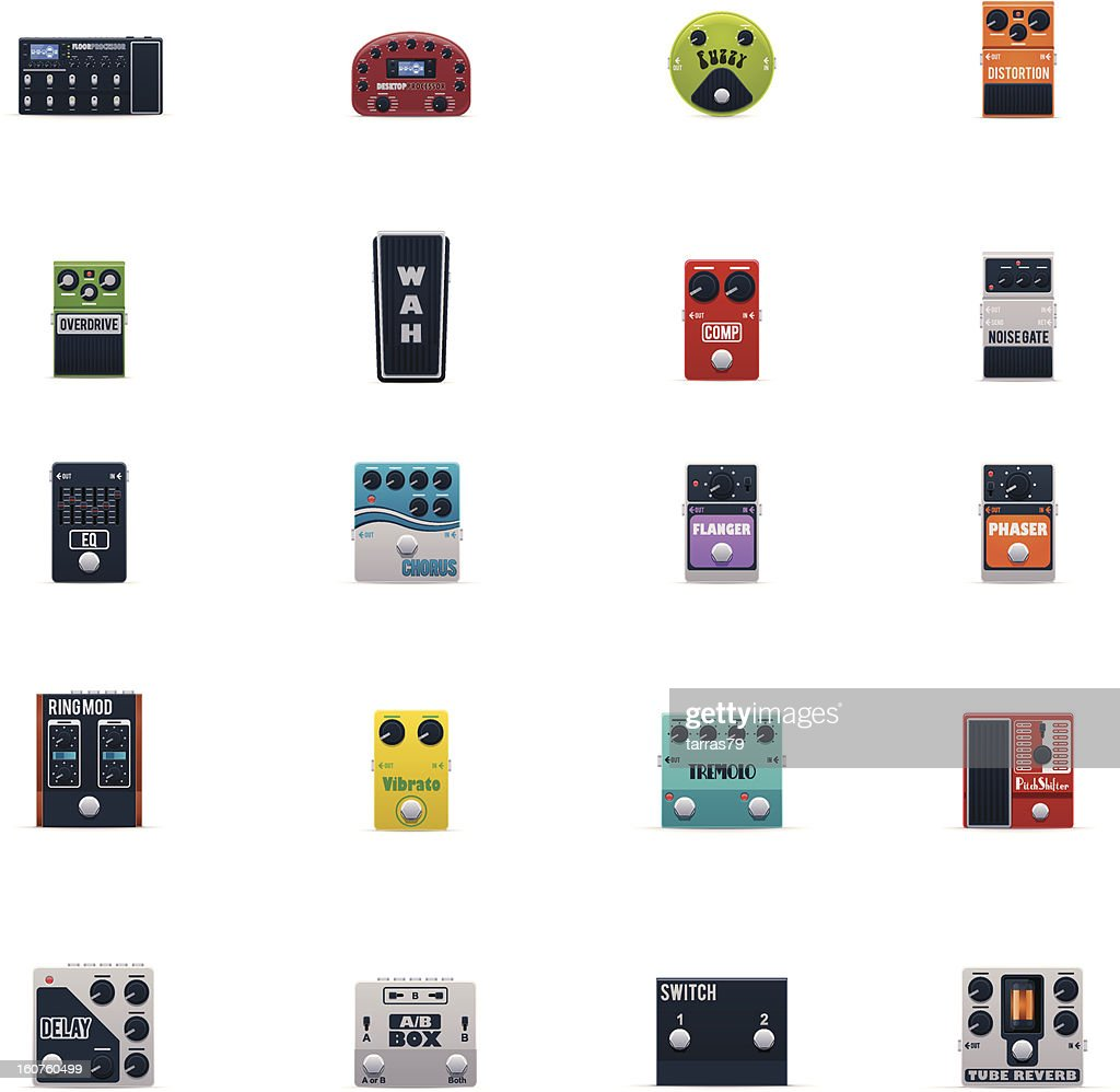 Guitar effects icons set