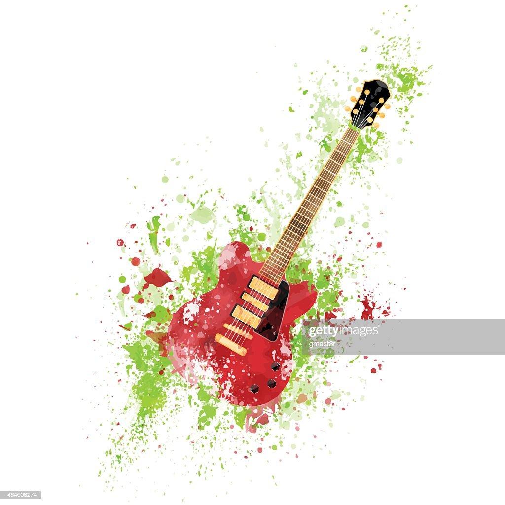 Guitar Electric Colorful Pain Ink Splash Rock Music Equipment