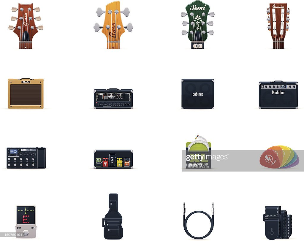Guitar equipment icon set