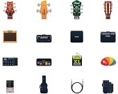 Guitar equipment icon set