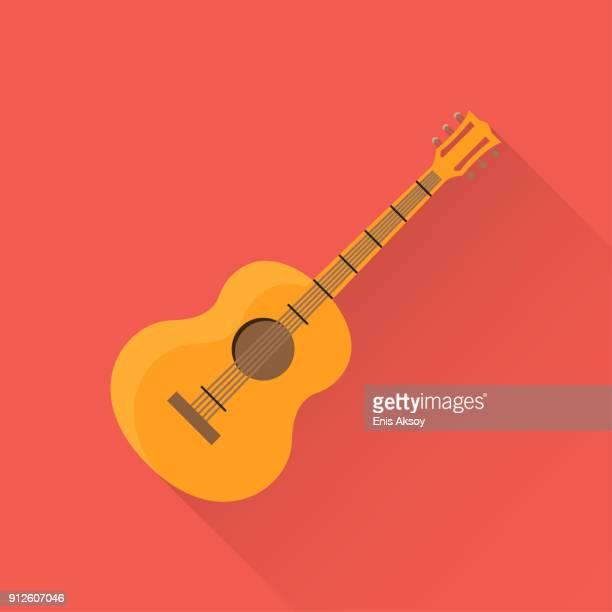 guitar flat icon - guitar stock illustrations