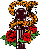 Guitar head with snake and roses. Design element for poster, card, banner, emblem, t shirt.