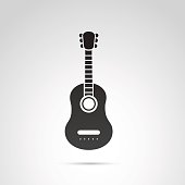 Guitar icon isolated on white background.