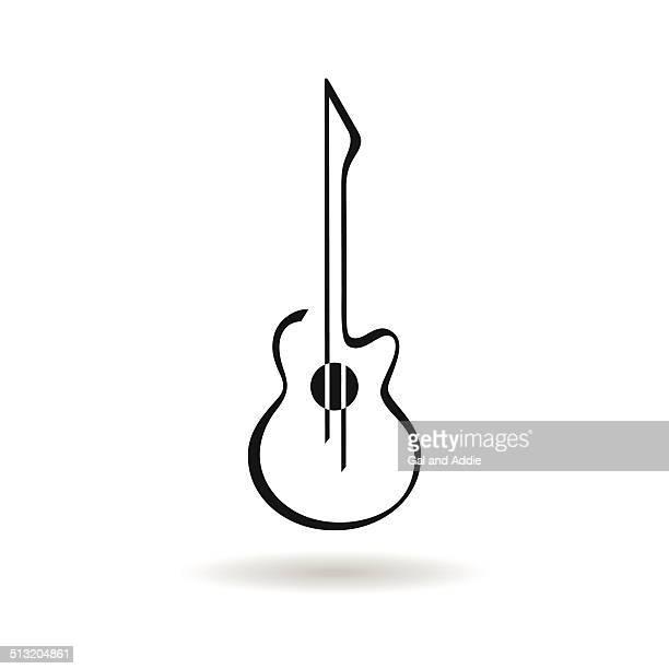 ilustrações, clipart, desenhos animados e ícones de ícone de guitarra - violão