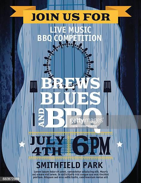 Guitar Music Barbecue Event Invitation Template