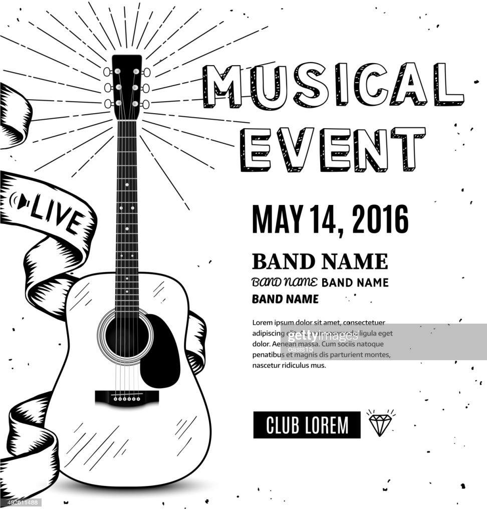 Guitar music poster. Hand drawn sketch vector illustration
