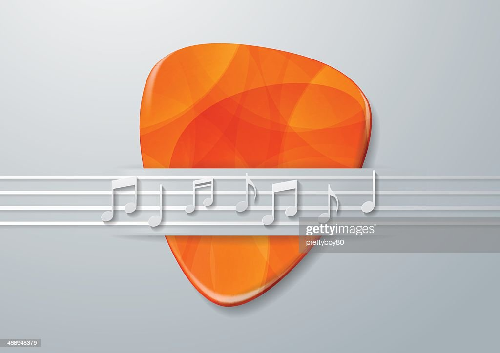 Guitar Pick and Music Notes Background