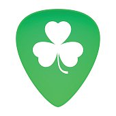 Guitar Pick With Clover Icon