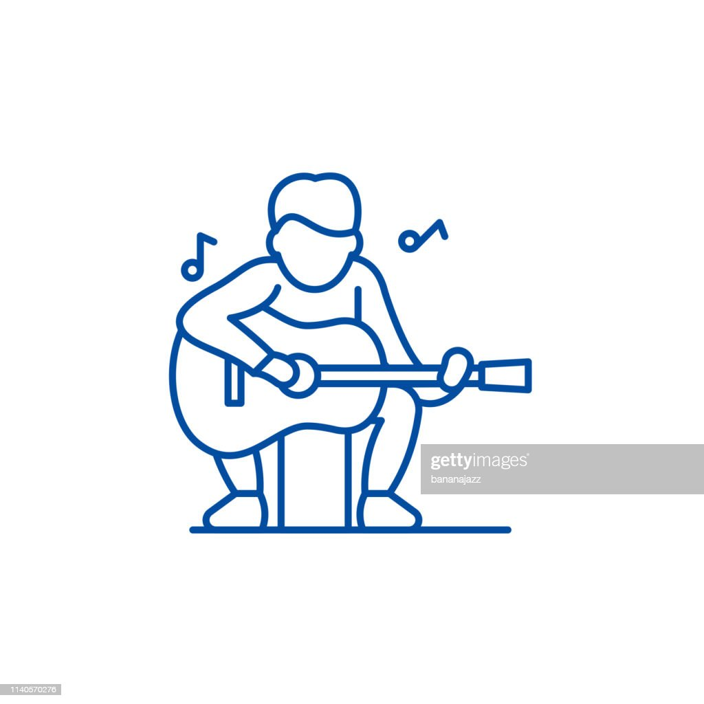 Guitar player line icon concept. Guitar player flat  vector symbol, sign, outline illustration.