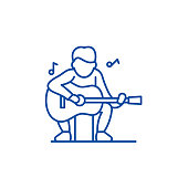 Guitar player line icon concept. Guitar player flat  vector symbol, sign, outline illustration.