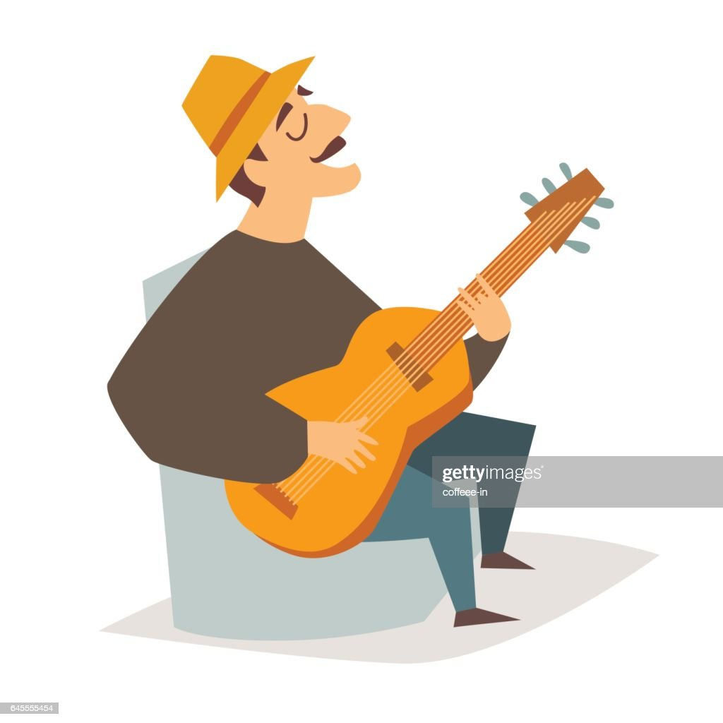 Guitar player vector illustration. Musician man with guitar