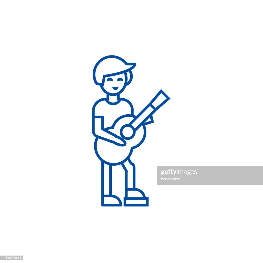 Guitar player,flamenco line icon concept. Guitar player,flamenco flat  vector symbol, sign, outline illustration.