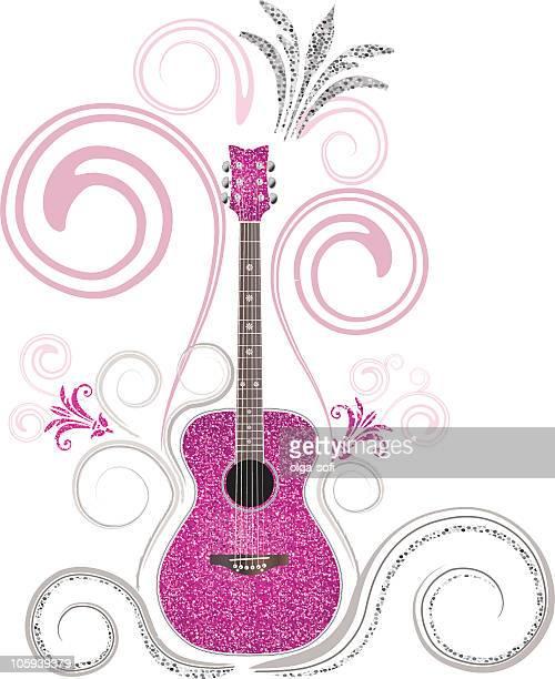 ilustraciones, imágenes clip art, dibujos animados e iconos de stock de guitarras de rock princess - bajo eléctrico