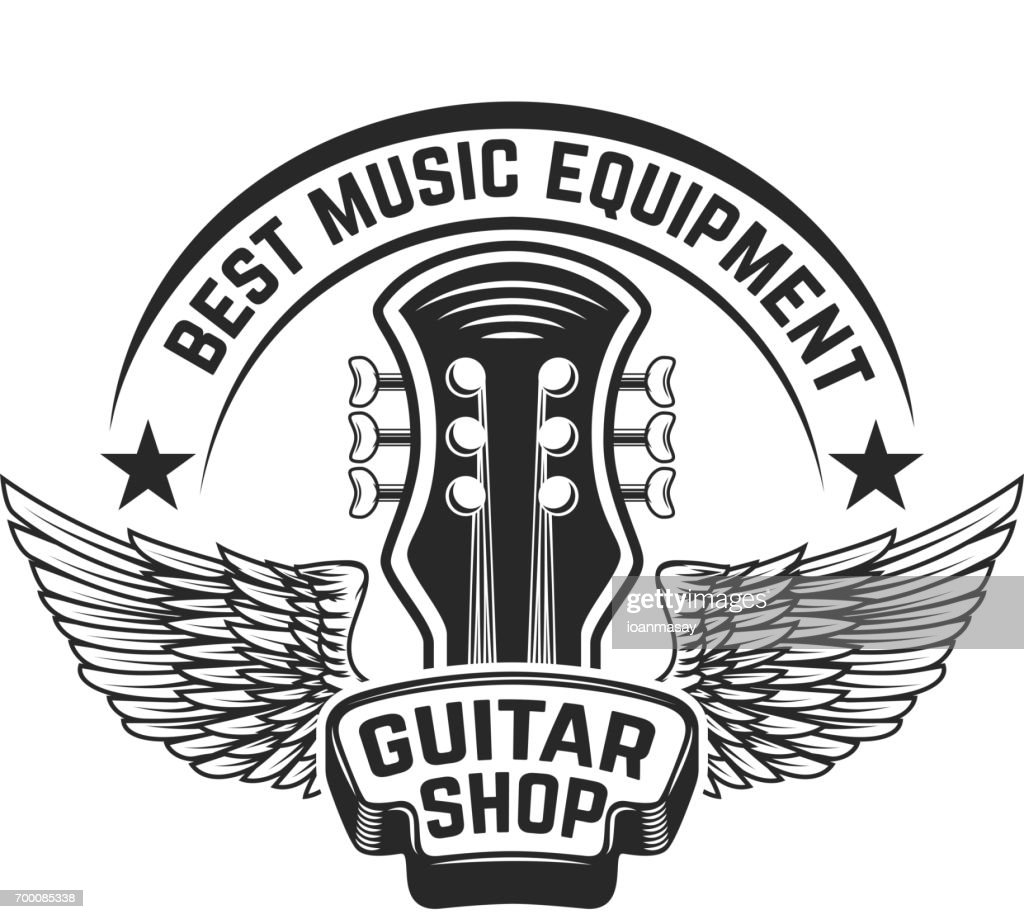 Guitar shop label template. Guitar head with wings. Design elements for poster, label, emblem, sign. Vector illustration