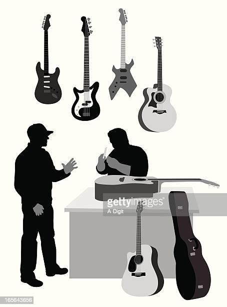 guitar shop vector silhouette - bass instrument stock illustrations, clip art, cartoons, & icons
