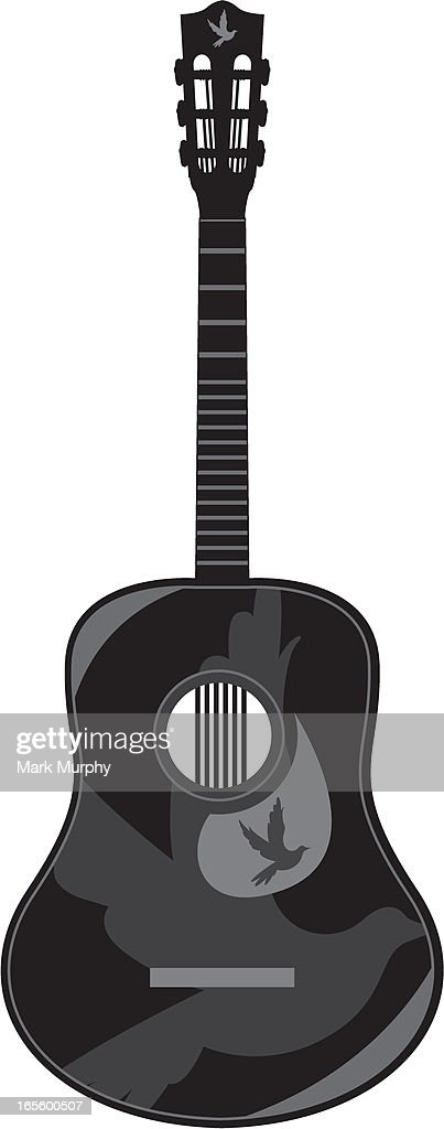 Guitar Silhouette With Peace Dove stock illustration - Getty