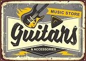 Guitar store retro advertisement sign board