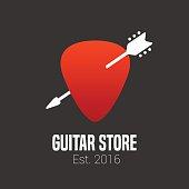 Guitar store vector emblem