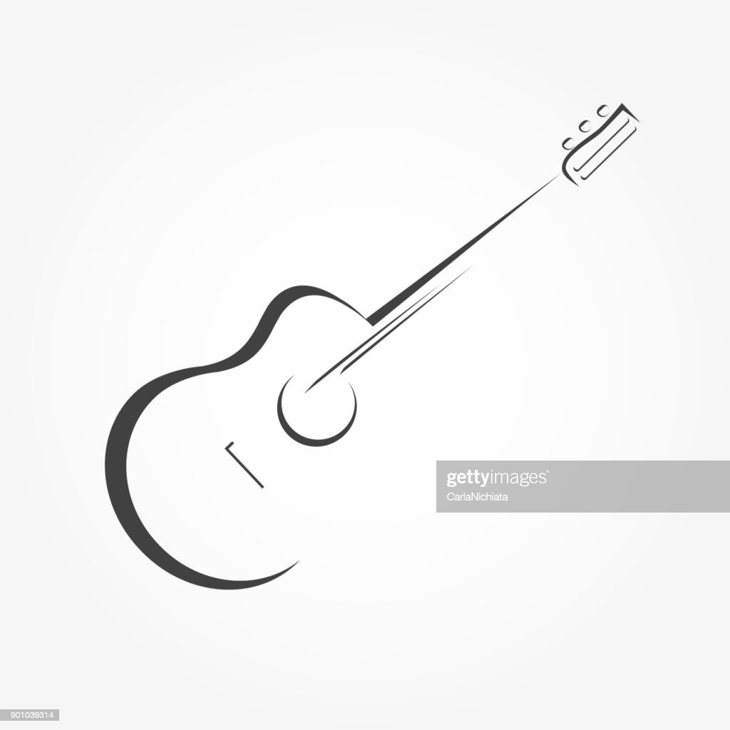 Guitar stylized icon vector