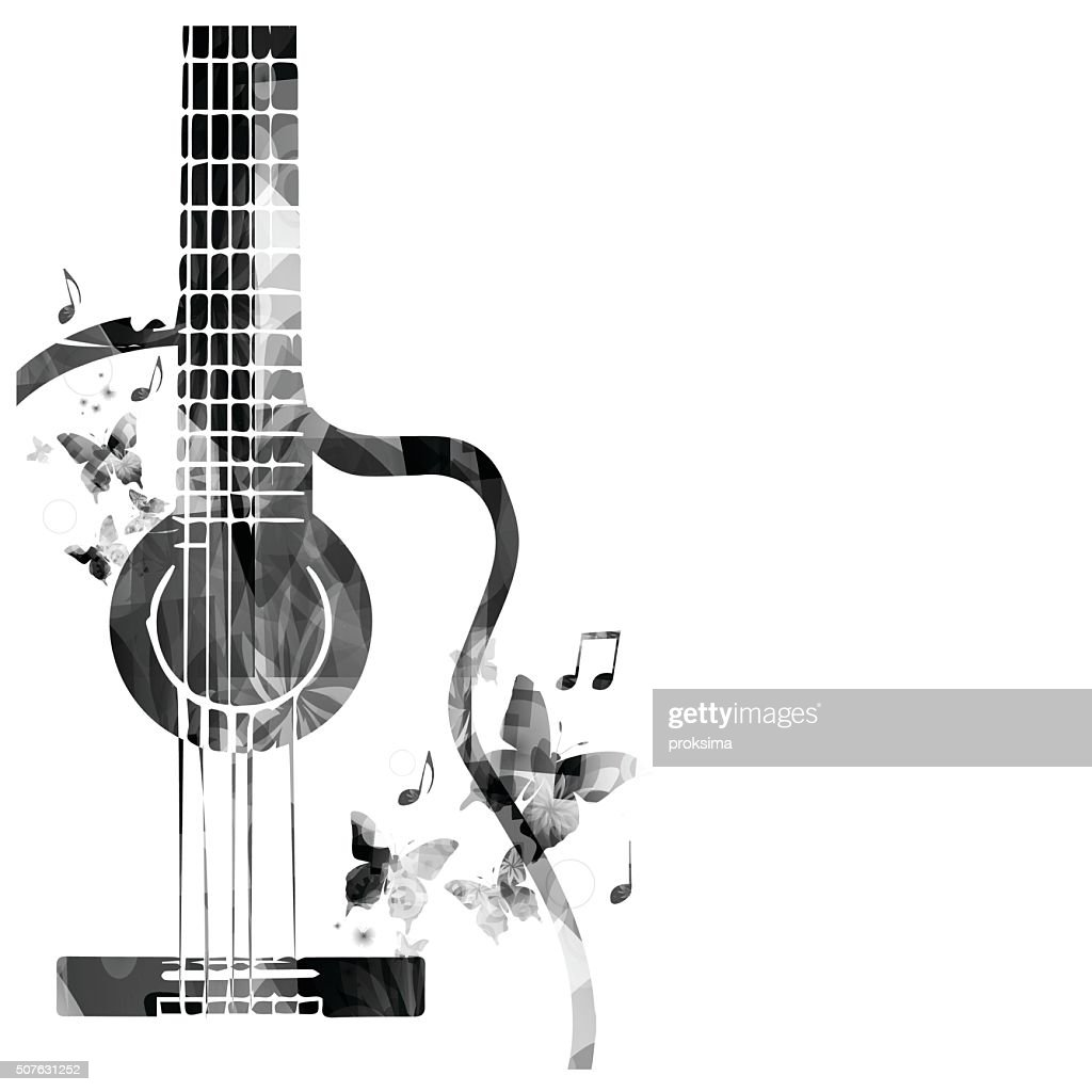 Guitar with butterflies design