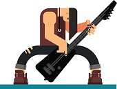 Guitarist character flat illustration