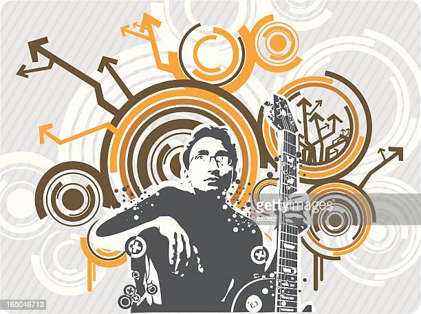 ギタリストのデザイン - 溝になった点のイラスト素材/クリップアート素材/マンガ素材/アイコン素材