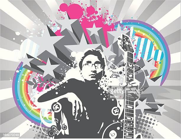 stockillustraties, clipart, cartoons en iconen met guitarist design - 70 79 jaar