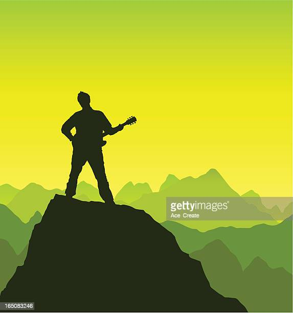 guitarist plays at the summit - guitarist stock illustrations, clip art, cartoons, & icons