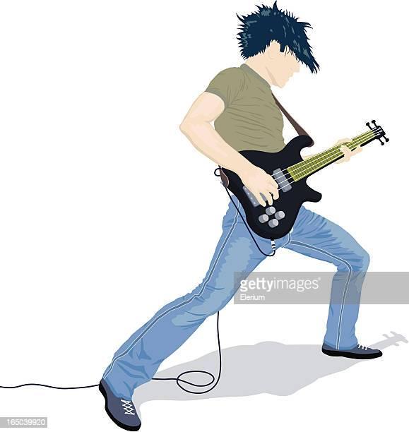 guitarist rocks - bass instrument stock illustrations, clip art, cartoons, & icons