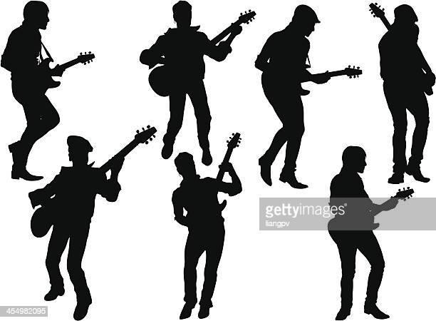 ilustraciones, imágenes clip art, dibujos animados e iconos de stock de guitarrista - bajo eléctrico