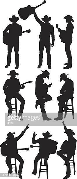 ilustraciones, imágenes clip art, dibujos animados e iconos de stock de guitarrista - puntear un instrumento