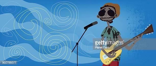 ilustrações de stock, clip art, desenhos animados e ícones de tocadora de violão - reggae