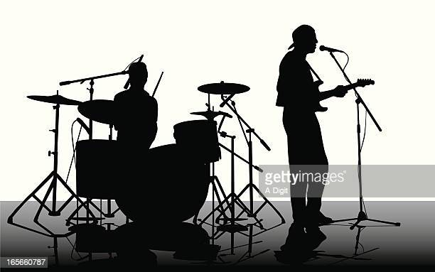 guitarist'n drummer vector silhouette - guitarist stock illustrations, clip art, cartoons, & icons