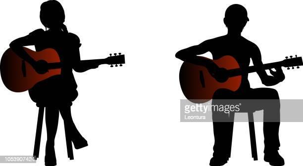 guitarists - bass instrument stock illustrations, clip art, cartoons, & icons