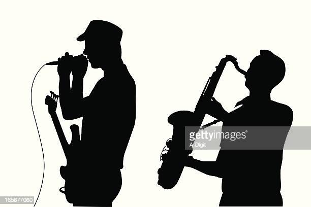guitar'n sax vector silhouette - saxaphone stock illustrations, clip art, cartoons, & icons